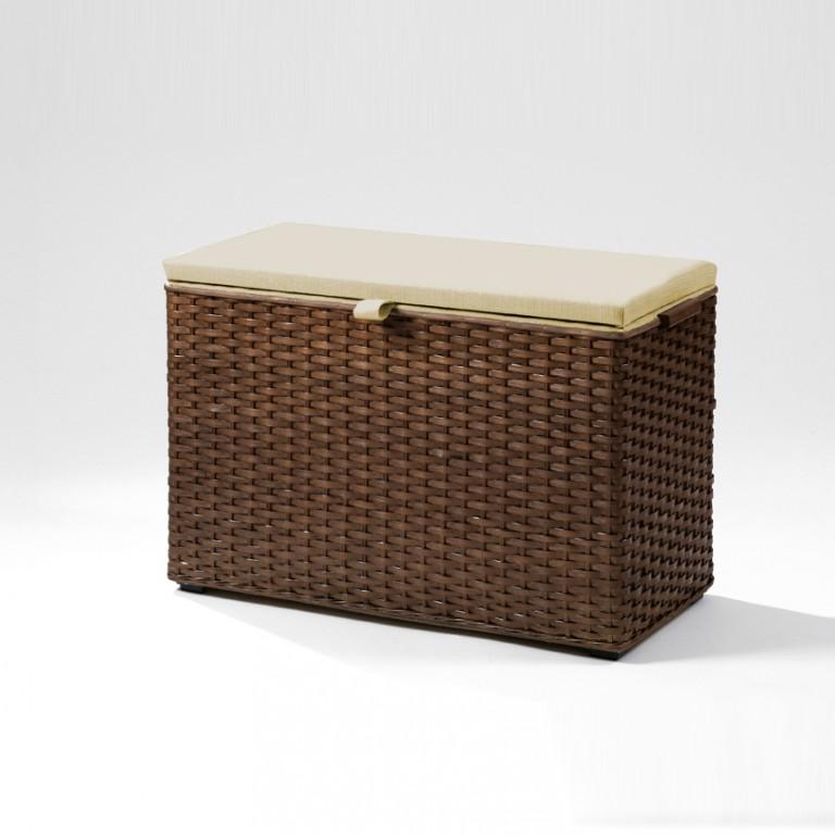 necke odilie w sche sitz truhe peddigband geflochten in nussbaum stoff beige kleinm bel. Black Bedroom Furniture Sets. Home Design Ideas