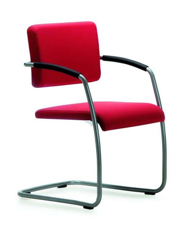 mayer zoom 2577 stapelbarer schwingstuhl mit armlehnen in perlsilber rot arbeitszimmer b ro. Black Bedroom Furniture Sets. Home Design Ideas