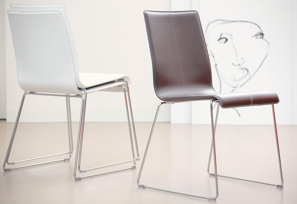 jan kurtz kuadra stuhl chrom leder wei oder dunkelbraun nach wahl im 2erset arbeitszimmer. Black Bedroom Furniture Sets. Home Design Ideas