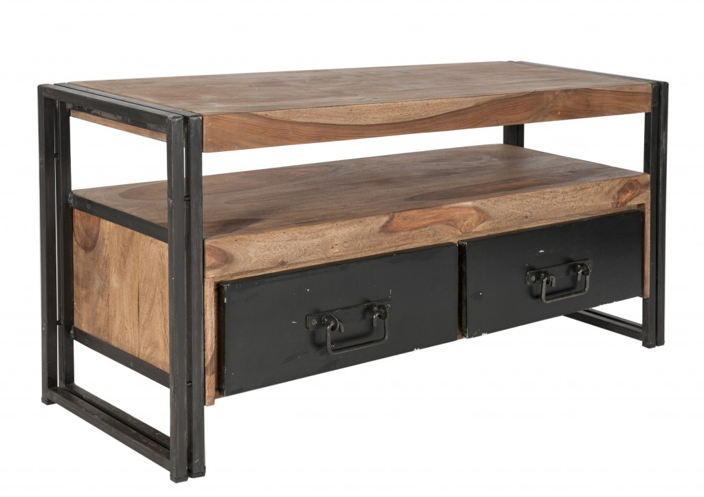 Lowboard tv board konsole kommode panama metall massivholz for Konsole holz